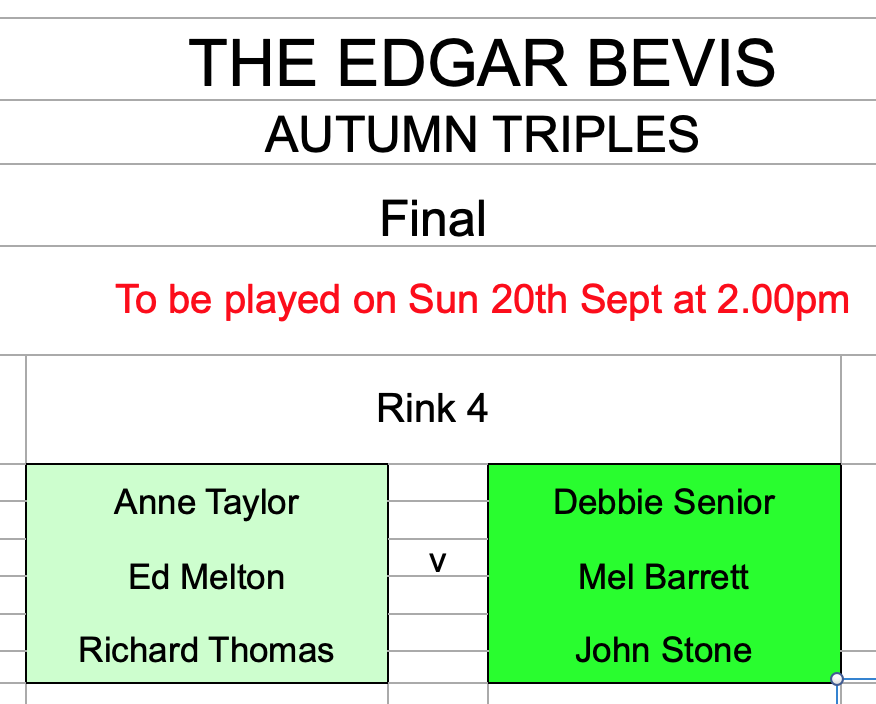 Autumn Triples Final